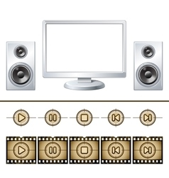Computer with speaker isolated Media buttons vector image