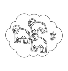 Count sheep icon in outline style isolated on vector