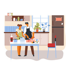 couple cooking food at home brother and sister vector image