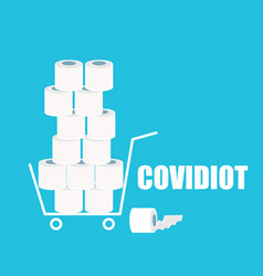 covidiot concept with shopping vector image