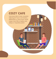 cozy cafe flat square banner modern people place vector image