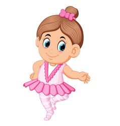 cute ballerina girl in pink dress dancing vector image