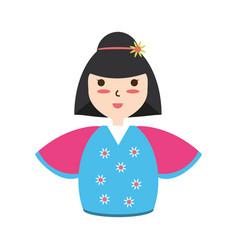 Cute woman japanese cartoon vector