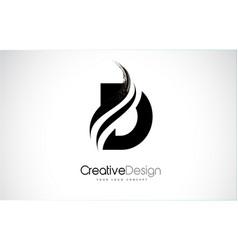 D letter design brush paint stroke vector