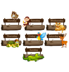 Days week with many animals vector