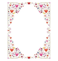 Decorative cute hearts frame vector
