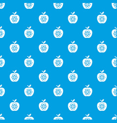 eco apple pattern seamless blue vector image