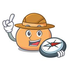 explorer mochi mascot cartoon style vector image