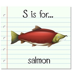 Flashcard letter S is for salmon vector