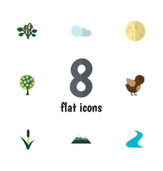 Flat icon bio set of cattail overcast lunar and vector