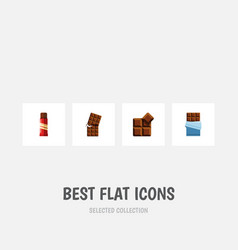 flat icon chocolate set of cocoa bitter wrapper vector image