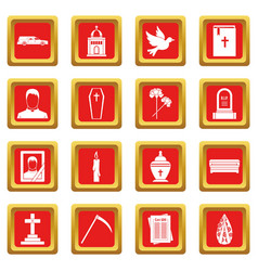 Funeral icons set red vector