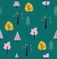 geometric forest seamless pattern vector image