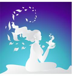 Girl silhouette meditate vector