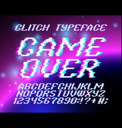 glith typeface game over vector image