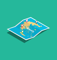 Greece explore maps with isometric style and pin vector