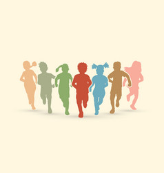 Group of children running together graphic vector