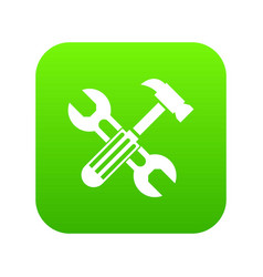 hammer and screw wrench icon digital green vector image