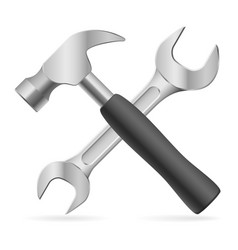hammer and wrench on white background for design vector image vector image