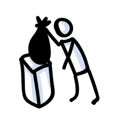 Hand drawn stick figure trash bag concept of vector