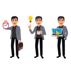 handsome business man cartoon character vector image