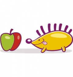 Hedgehog and apple vector