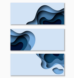 horizontal banners with 3d abstract background vector image
