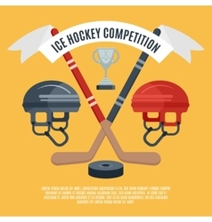 Ice hockey competition flat poster vector image
