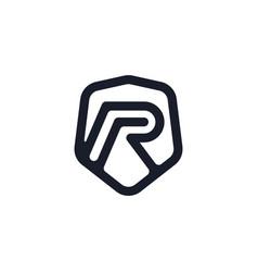 Initial letter r shield logo design vector