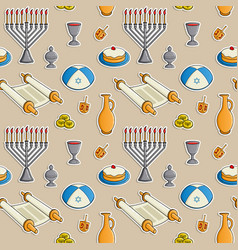 jewish holiday hanukkah seamless pattern vector image