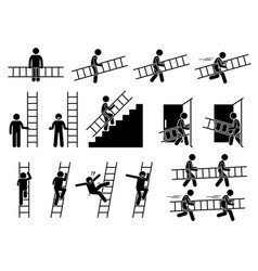 Man with a ladder pictogram showing a man holding vector