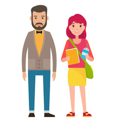 man with beard and cute young girl man standing vector image