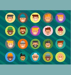 Men head portrait different nationality friendship vector