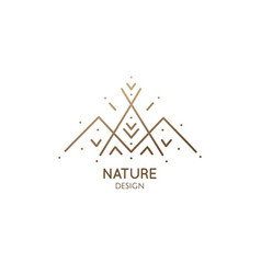 Minimal logo camping tent in nature vector