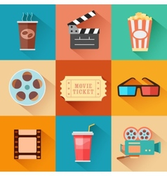 Movie and Film icon set vector image