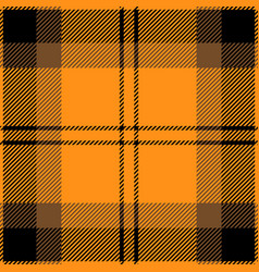 Orange and black tartan plaid seamless pattern vector