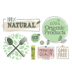 organic food stickers vector image