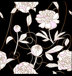 Peony and copper thread seamless pattern black vector