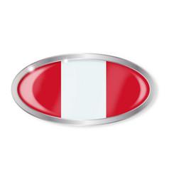 Peru flag oval button vector