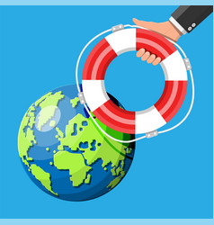 planet earth getting lifebuoy ring vector image