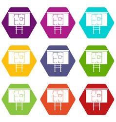 Project of house on a board icon set color vector