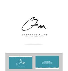 Q m qm initial logo signature handwriting vector