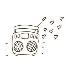 radio doodle icon vector image