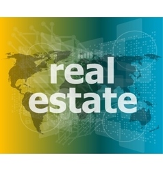 Real estate text on touch screen vector