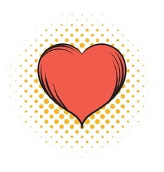 Red heart comics icon vector image