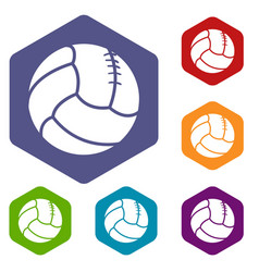 Retro volleyball icons hexahedron vector