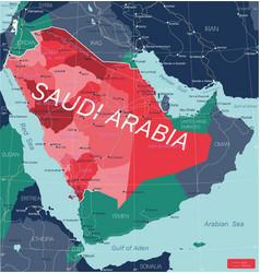 Saudi arabia country detailed editable map vector