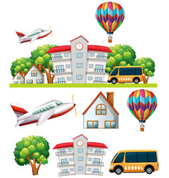 school scene with building and transportations vector image vector image