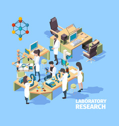 science people laboratorium interior group of vector image