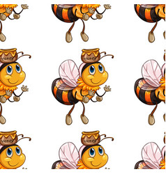 seamless pattern tile cartoon with bee vector image